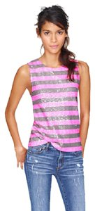 J.Crew Sequin Sequins Striped Shell On Trend Top pink sequin