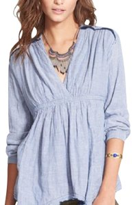 Free People Top Blue, White