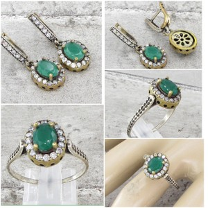 Other STERLING SILVER VINTAGE ANTIQUE FINISH EMERALD & TOPAZ DROP EARRINGS