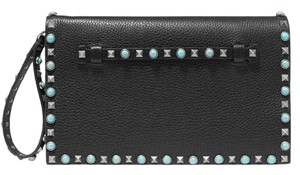 Valentino Rockstud Studded Leather black Clutch
