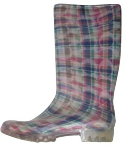 Coach Pull Excellent Condition Rain/Snow Bottom Treads Pastel Print Pink Blue Logo Boots