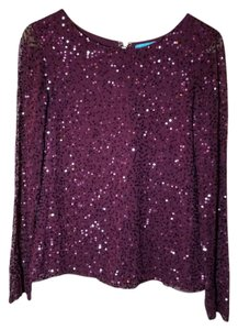 Alice + Olivia Sequins Long Sleeve + Top Purple