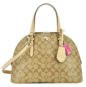 Coach Fall Signature Tote Satchel in Brown and Pink
