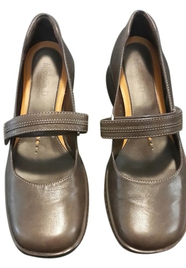 Michelle D Leather Mary Jane Brown Flats