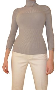 Karen Millen 3/4 Sleeve Ribbed Turtleneck Knit Gra Sweater