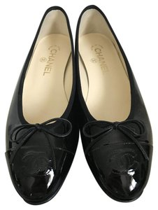 Chanel Patent Leather Bow Black Flats