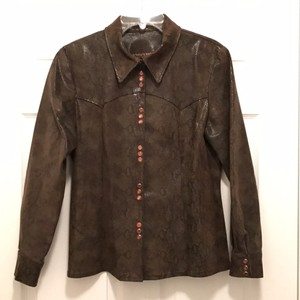 Double D Ranchwear Western Southwest Snakeskin Suede Shirt Brown Leather Jacket