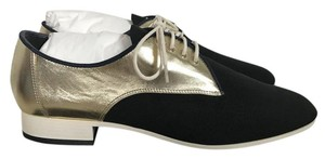 Chanel Leather Gold Black Flats