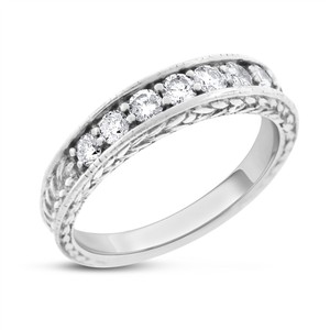 Other 0.50 Ct. Natural Diamond Feather Etched Wedding Band Ring Solid 14k