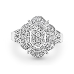 Other 1.00 Ct. Natural Diamond Fashion Cocktail Cluster Ring in Solid 14k