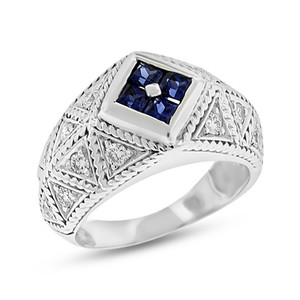 Other 1.25 Ct. Vintage Inspired Diamond & Sapphire Fashion Filigree Ring