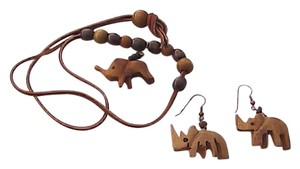 Other Leather and Wood Elephant Necklace Set