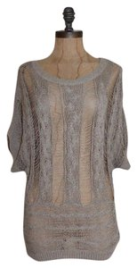 Matty M Distressed Relaxed Knit Open Weave Top BEIGE