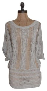 Matty M Distressed Relaxed Knit Open Weave Top GRAY