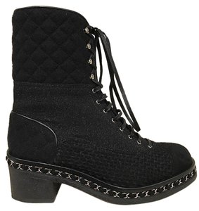 Chanel Tweed Glitter Quilted Chain black Boots