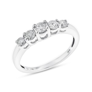 Other 0.35 Ct. Natural Five Diamond Anniversary Band in Solid 10k White Gold