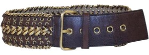 Prada Woven Chain Grommet Leather Belt Sz 34 PRGR01