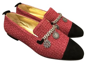 Chanel Cc Tweed Loafer Coin Fuchsia Flats