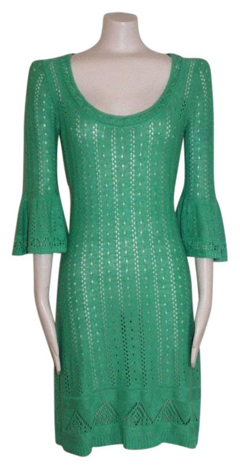 407d2716a2 Betsey Johnson Green Open Knit Sweater Short Casual Dress Size 8 (M ...