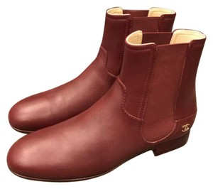 Chanel Cc Burgundy Boots