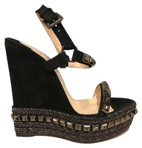 Christian Louboutin Cataclou Studded Ankle Strap Stiletto black Wedges