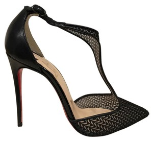 Christian Louboutin Salonu Stiletto Mesh Leather Ankle Strap black Pumps