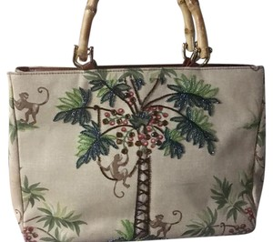 Isabella Fiore Sequins Leather Trim Unique Monkey Palm Tree Satchel in Tan multi