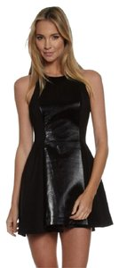 C/meo Collective Cameo Mixed Media Skater Fit And Flare Leather Dress
