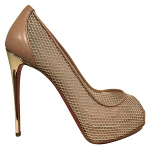 Christian Louboutin Very Rete Mesh Platform Stiletto beige Pumps