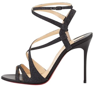 Christian Louboutin Audrey Strappy Glitter 100 Black Black/Glitter Sandals