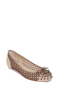 Christian Louboutin Spike Suede & Knotted Mesh Beige Flats