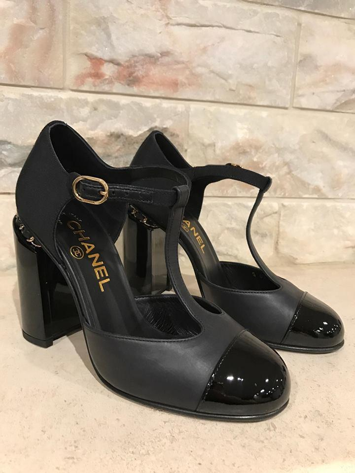 c1b7144f8960 Chanel Black 16b Leather Mary Jane Cc Chain Heel Ankle 37 Pumps Size ...
