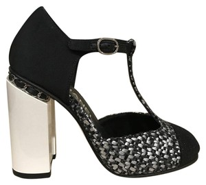 Chanel Chain Tweed Classic Ankle Strap black Pumps