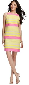 Ann Taylor LOFT short dress Neon Yellow Pink Stripes Stripes on Tradesy
