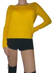 Moda International Cotton Cashmere Boat Neck Crew Neck Cropped Sweater