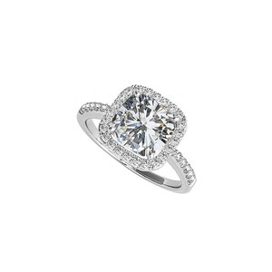 LoveBrightJewelry White Cushion Cut Cubic Zirconia Square Halo Engagement Ring