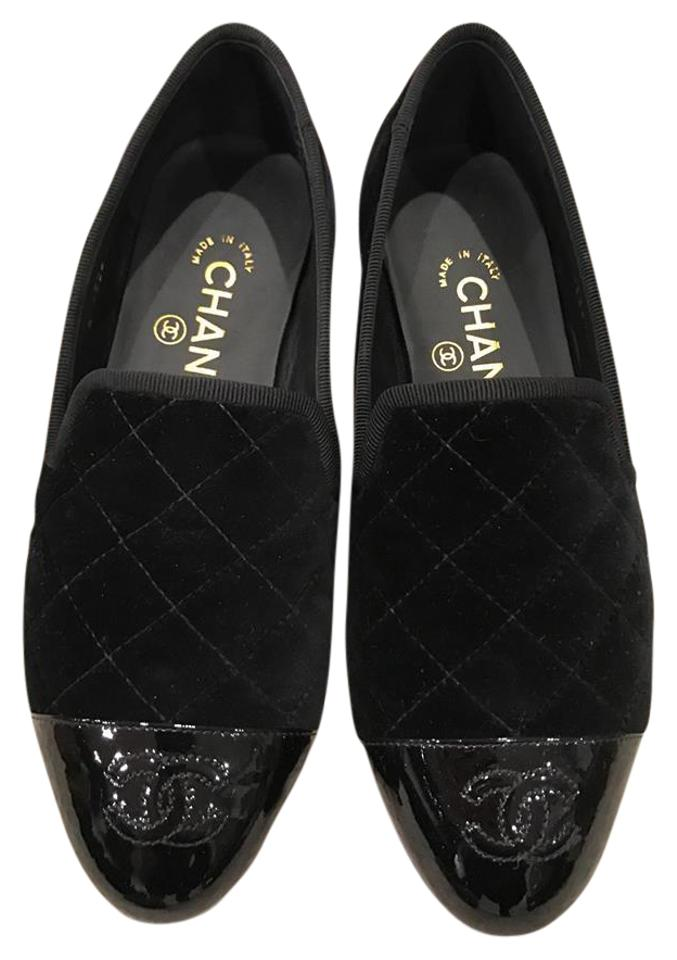 7f8f5e9d9f0 Chanel Black 16k Velvet Quilted Cc Cap Toe Mule Loafer Moccasin 36 Flats  Size US 6 Regular (M, B)