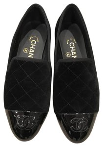 Chanel Quilted Velvet Patent Loafer black Flats