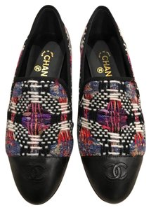 Chanel Tweed Leather Logo Classic black Flats