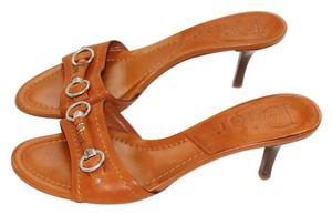 Dior Leather Italian European Orange Mules