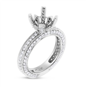 Other 1.25 Ct. Diamonds All Around Semi Mount Setting Ring For 3-3.5 Ct. 18k