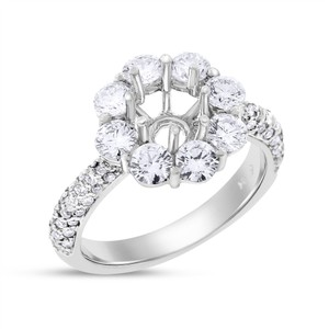 Other 2.15 Ct. Diamond Halo Semi Mount Setting In Solid 18k White Gold For