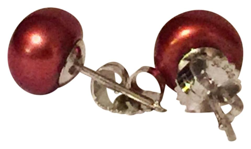 Honora Sterling Silver 925 Cherry Red Pearl Stud Earrings