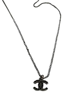 Chanel Black Crystal CC Necklace CCAV399