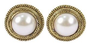 Chanel CCAV365 Round Gold Tone Faux Pearl Earrings