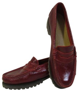 Bass Weejuns Penny Loafers Lug Sole Gh Lug Red Flats