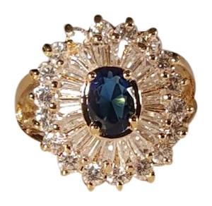 Other Sapphire Blue CZ Gold Plated Ring Size 7.5