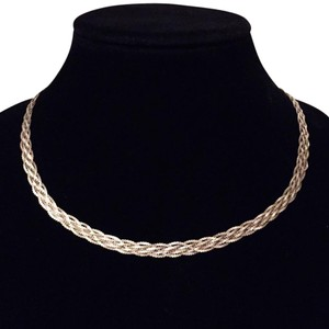 vintage braided herringbone Mexico Sterling silver 925 necklace