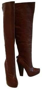 Velvet Angels St. Clair Otk Over The Knee Leather Brown Boots