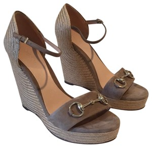 Gucci Taupe Suede Wedges